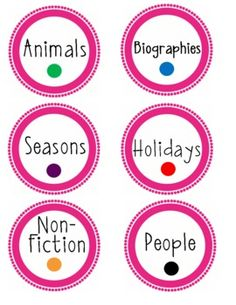 Adapt for intermediate - Classroom library labels by theme. Put coordinating dot on the back of each book to allow for easy put back! Animals, People, Non-Fiction, . Library Book Labels, Classroom Library Labels, Book Bin Labels, School Classroom, Classroom Themes, Classroom Libraries, Future Classroom, Teaching Time, Teaching Reading