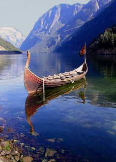 Viking ship in a fjord, Norway.