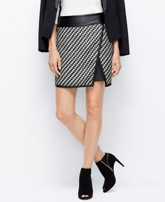 Faux Leather Trim Tweed Skirt