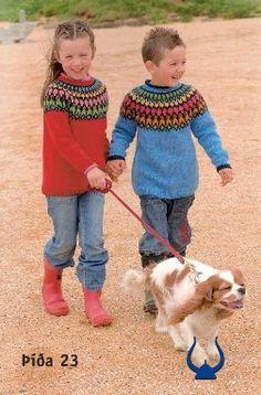 Red sweater Knitting kit includes pattern book with 20 patterns(Lopi 26) and Lettlopi yarn 11x50g 100% natural Icelandic wool. Blue sweater Knitting kit includes pattern book with 20 patterns(Lopi 26) and Lettlopi yarn 11x50g 100% natural Icelandic wool. Designed by Vedis Jonsdottir.