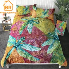 Beddingoutlet Dragonfly Bedding Set Leaf Stems Duvet Cover Set Colorful Insect Print Home Textiles Nature Beauty Bedclothes Bed Covers, Duvet Cover Sets, Pillow Covers, Cotton Bedding, Linen Bedding, 3d Bedding, Luxury Bedding, Bedclothes, Blanket Cover