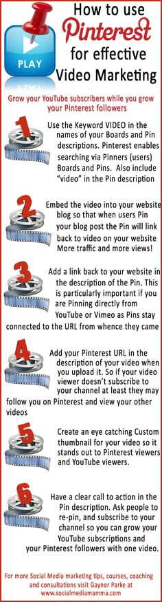 How to use #Pinterest to promote your videos and increase your YouTube subscribers  #Videomarketing content marketing #infographic www.socialmediamamma.com
