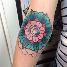 Alex Strangler Tattoo- Crescent Moon Geo Flower