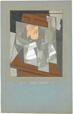 Juan Gris | The Fruit Bowl, Paris, 1915-16 Graphite, wax crayon, and gouache on blue wove paper-faced paperboard, 10 11/16 × 8 1/2 in. (27.1 × 21.6 cm) The Met