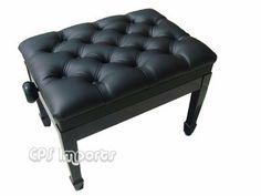 """Ebony Leather Pillow Top Adjustable Artist Piano Bench by CPS. $209.99. The Leather Pillow Top Adjustable Artist Piano Bench is 23"""" long and 16.5"""" deep. It weighs about 30 pounds. Its height can be adjusted from 18.5"""" to 21"""".  The artist piano bench is made of solid hard wood with heavy duty mechanism (silent micro adjustment). The seat is covered with 100% premium genuine leather. The leather we use on our bench is the top quality leather you can find. It's t..."""