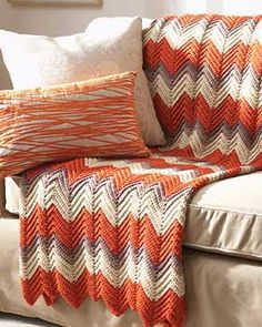 Timeless zig-zag pattern can be worked in any colors to complement your decor. Measures approx. 46