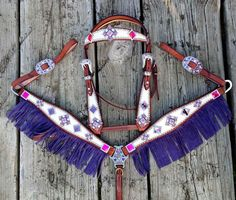 BLING On A Budget Purple Fringe Breast collar,  Pink and Purple Rhinestone Breastcollar set