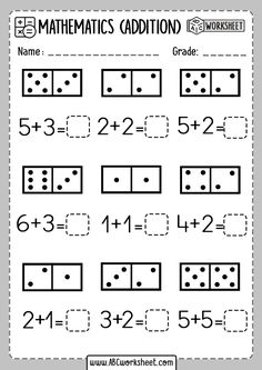 Printable kindergarten math worksheets domino addition - ABC Worksheet Counting Worksheets For Kindergarten, Preschool Worksheets, Free Printable Math Worksheets, Addition And Subtraction Worksheets, Subtraction Kindergarten, Number Worksheets, Teaching Kindergarten, Free Printables, Preschool Math