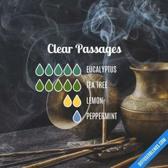 Clear Passages Essential Oils Diffuser Blend ••• Buy dōTERRA essential oils online at www.mydoterra.com/suzysholar, or contact me suzy.sholar@gmail.com for more info. #homemadeessentialoils