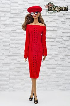 ELENPRIV hand-knitted red dress for Fashion royalty FR:16