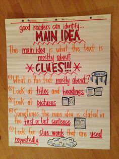 Charts - Main Idea Main idea anchor chart I like the clues to help find the main idea.Main idea anchor chart I like the clues to help find the main idea. Reading Lessons, Reading Strategies, Reading Activities, Reading Skills, Teaching Reading, Reading Comprehension, Reading Resources, Guided Reading, Main Idea Activities