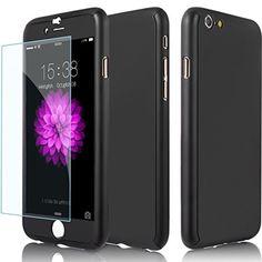 ギジGIZEE iPhone 6 6S 専用 360全面保護 フルガードカバー 超薄型 ナノPC材料製 4.7インチ ケース 強化ガラスフィルム付き(ブラック)