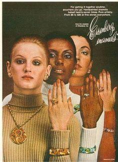 1973 Eisenberg jewelry ad 'Enamels'