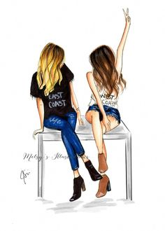 Cityscape (Fashion Illustration Print) (Fashion Illustration Art – Fashion Sketch prints – Home Decor – Wall Decor )By Melsy's Illustrations – Best Friends Forever Best Friend Sketches, Friends Sketch, Best Friend Drawings, Girly Drawings, Cool Girl Drawings, Best Friend Pictures, Bff Pictures, Illustration Mode, Illustration Fashion