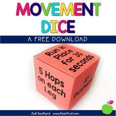 This movement dice is perfect for giving your students a Brain Break in the classroom. This can be used as a whole group or given to individual students that may need a break throughout the day. Music Therapy Activities, Movement Activities, Gross Motor Activities, Physical Activities, Preschool Activities, Preschool Transitions, Dementia Activities, Preschool Education, Fun Brain