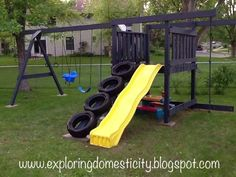 Make a tire ladder for a swing set.