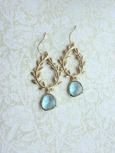 Aqua Blue Laurel Wreath Earrings, Gold Plated Aqua Blue Glass Gold Drop Dangle Earrings. Blue Wedding. Bridesmaid Gift. Bridal Jewelry