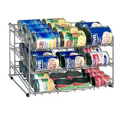 Use this handy rack on a countertop or your pantry to keep all canned food organized. Designed to hold a variety of sized cans, this wire storage rack has an open design making it simple to find exact