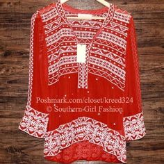 """LOVE SAM CLOTHING $174 """"Embroidered Blouse Georgette Tunic Top"""" - Size XS - NWT #LoveSam #Blouse #Casual"""