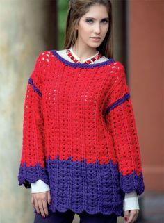 Fácil de tejer y fácil de combinar. Un pull perfecto para ponerle color al invierno. ¿El detalle? Las ondas en las mangas y el comienzo.