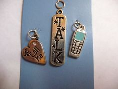 """Buy Charm, MainSTAYS, Antiqued, Silver Finished, Brass, Enamel, Green, Cell phone, Heart with, Call Me, rounded rectangle, with """"TALK, Pkg Of 3 by darsjewelrysupplies. Explore more products on http://darsjewelrysupplies.etsy.com"""
