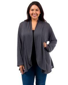 PLUS SIZE 1XL-3XL Flyaway Wrap Cardigan HOT GINGER Solid Black Gray Long Sleeves #HotGinger #Cardigan