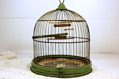 Vintage Antique Birdcage Hendryx Green Stand by PoetryofObjects