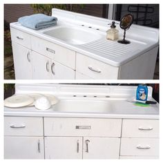 vintage farmhouse sink and drainboard mid by cultivateanewway  535 00 joe replaces a vintage porcelain drainboard kitchen sink with a      rh   pinterest com