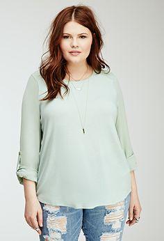 Crepe-Paneled Sweatshirt   FOREVER21 PLUS   #f21plus