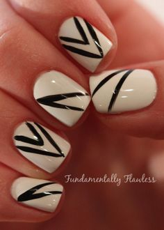 Fundamentally Flawless: White and black nail art by Neringa #BootsFeelLikeNew