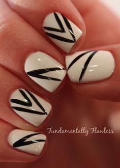 Fundamentally Flawless: White and black nail art by Neringa #BootsFeelLikeNew