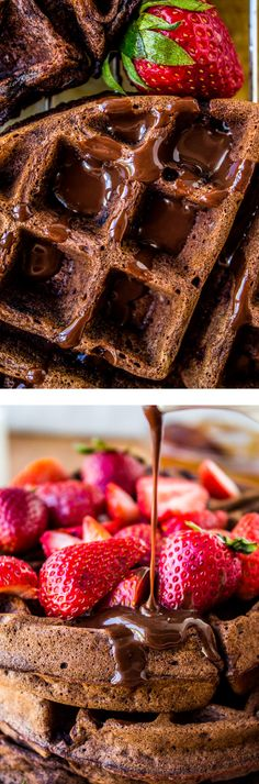 Dark Chocolate Waffles with Ganache and Strawberries from The Food Charlatan // This may be the most decadent breakfast you ever eat! Perfect for Mother's Day! Just Desserts, Delicious Desserts, Dessert Recipes, Yummy Food, Brunch Recipes, Chocolate Waffles, Chocolate Recipes, Chocolate Lovers, Chocolate Chips