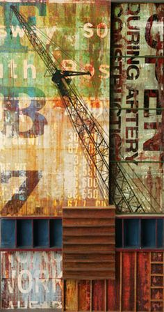 "Robert Maloney, Stretch  digital and traditional collage on wood construction, 30"" x 16"" x 6"""