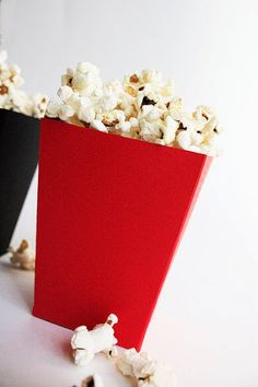 DIY Popcorn Box Tutorial w/ free printable template.
