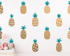 Dramatically convert the look of your living space with these unique patterned pineapple wall decals, giving your walls the look of a custom paint job without any of the hassle! Wall Stickers Geometric, Pineapple Room, Modern Wall Decals, Custom Paint Jobs, Wall Crosses, New Wall, Main Colors, Wall Signs, Vinyl Decals