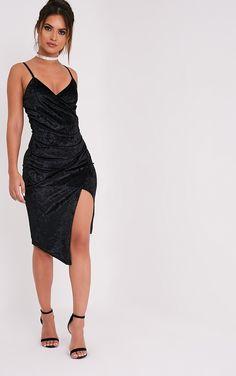 Prina Black Crushed Velvet Strappy Wrap Over Midi Dress Image 1