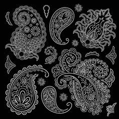 Set of black and white paisley pattern vector graphics 03
