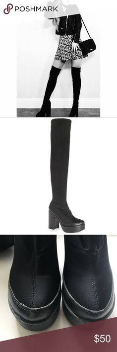 """Thigh-high Boots The perfect boots for winter coming up! These are such a staple for any wardrobe. There is a little wear/ scuffing at the front and back of the boots, but the rest is in great condition! No visible wear to the """"thigh"""" portion of the boots or the inside. Only worn a few times💙 Boohoo Shoes Over the Knee Boots"""