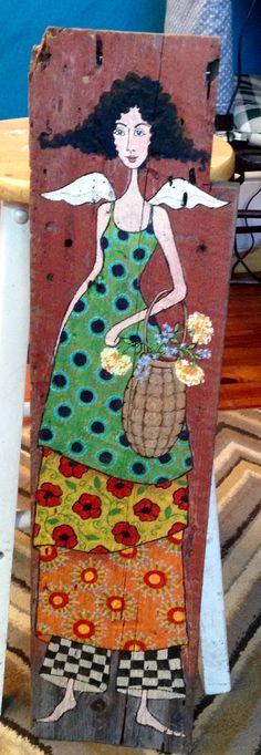 Garden angel...original acrylic painting on old barn board