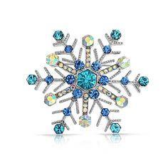 Aquamarine Sapphire Color Crystal Christmas Snowflake Brooch Pin