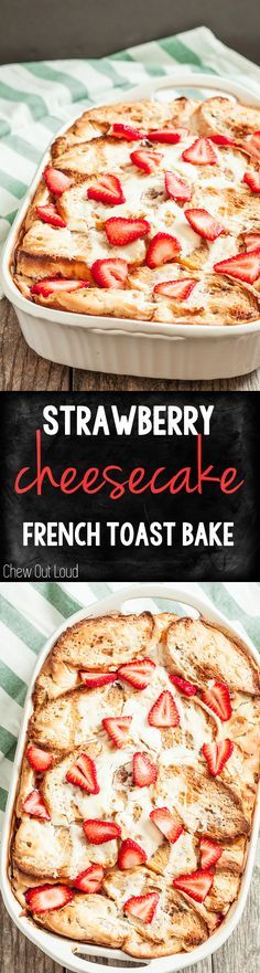 This Strawberry Cheesecake French Toast Bake is easily prepped the night before; it feeds a crowd and is delicious any time of year! Try making with Jimmy John's Day Old French Bread