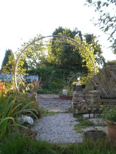 Recycle an old Trampoline frame -- Create this gorgeous garden arch from an old trampoline frame. Add some climbing flowers or vines and be the envy of the neighborhood! #backyardtrampolinegardens