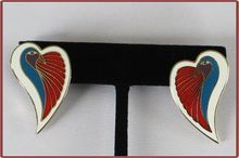 Vintage Laurel Burch Pierced Earrings Dove Heart