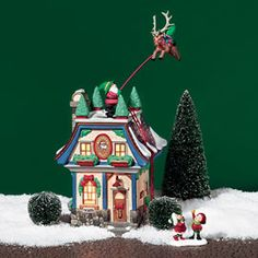 """Department 56: Products - """"Santa's Reindeer Rides"""" - View Lighted Buildings"""