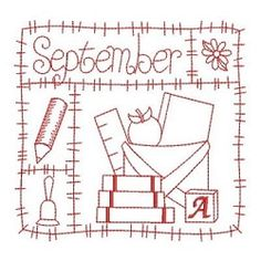 Redwork 12 Months of the Year, September - 3 Sizes! | Fall | Machine Embroidery Designs | SWAKembroidery.com Ace Points Embroidery
