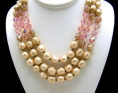 Classic Vintage Vendome Necklace Earring Set Baroque Pearl Pink Crystals
