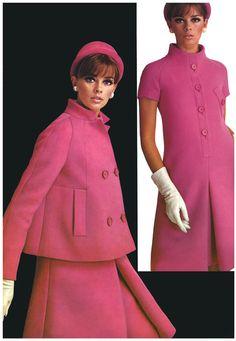 1960s Vintage pink pyramid shape coat designed by Jean Patou.