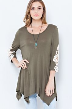 Anika Burke - Olive Tunic With Lace Accents, $59.95 (http://www.anikaburke.com/olive-tunic-with-lace-accents/)