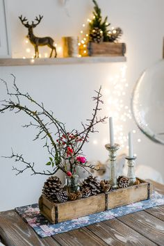 Novemberblümchen, Pomponetti, bemooste Schlehenzweige mit Rosen