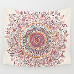 Sunflower Mandala Wall Tapestry by Janet Broxon #PrintedGift